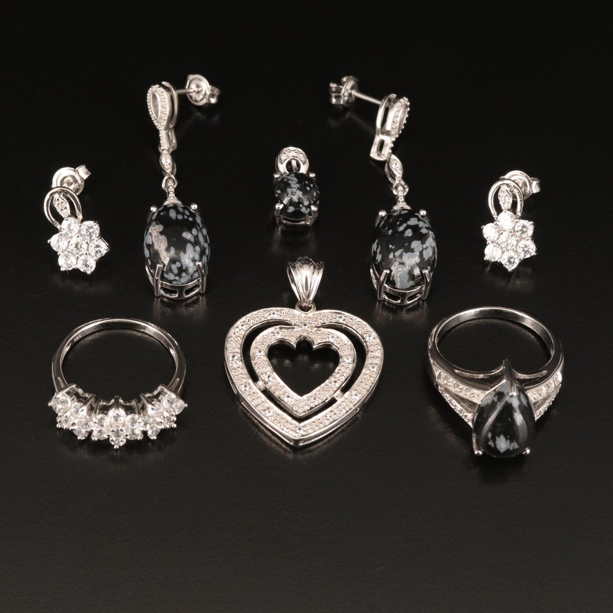 Sterling Jewelry Including Obsidian, White Zircon and White Topaz
