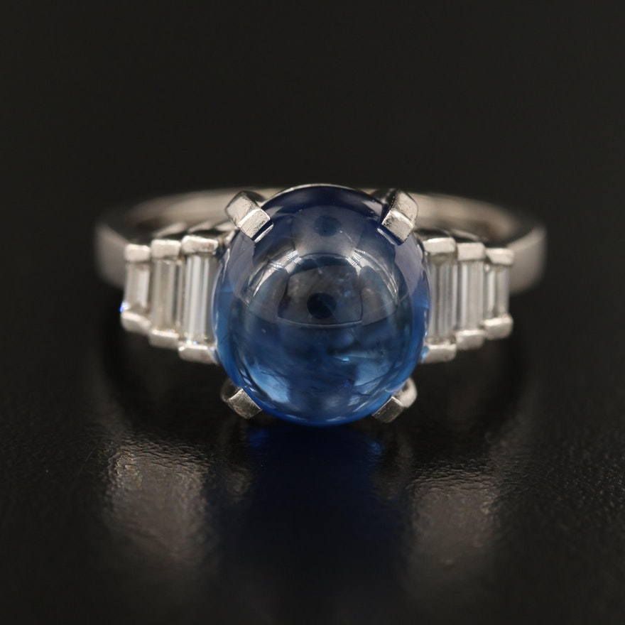 Vintage Platinum 11.22 CT Sapphire and Diamond Ring