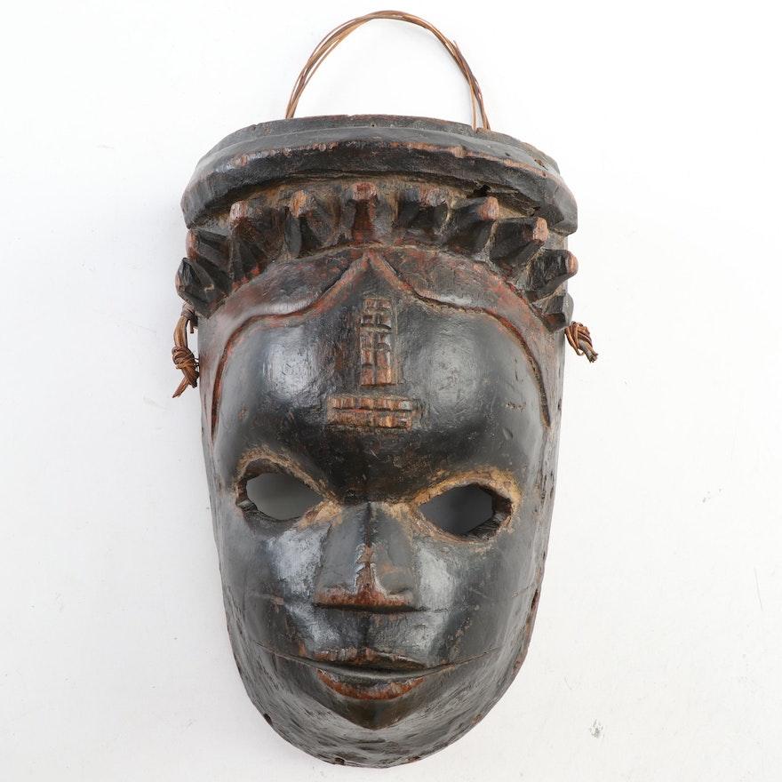 Ibibio Hand-Carved Wooden Mask, Nigeria