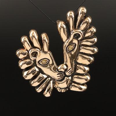 """1997 Douglas Brett """"Lion Picasso"""" 14K Diamond Converter Brooch"""