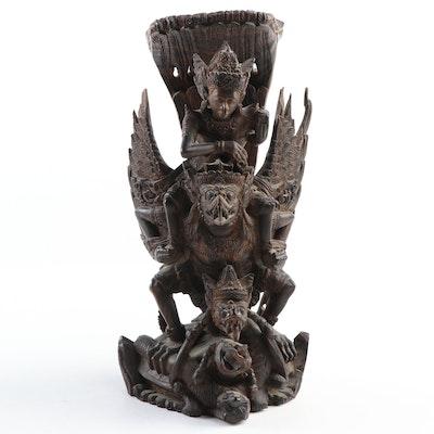 Indonesian Rosewood Carved Sculpture of Garuda and Vishnu