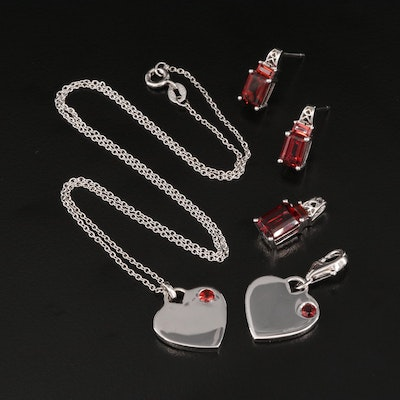 Sterling Silver Garnet Jewelry Featuring Heart Necklace and Charm
