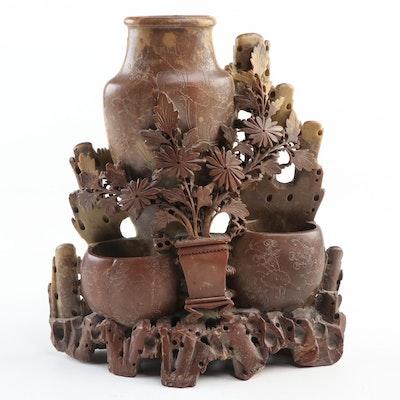 Chinese Carved Soapstone Vase Shaped Brush Pots