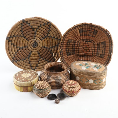 Native American Twined and Coiled Woven Baskets with Floral Motifs, 20th Century