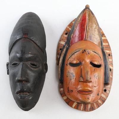Ibibio and Igbo Hand-Carved Wood Masks, Nigeria