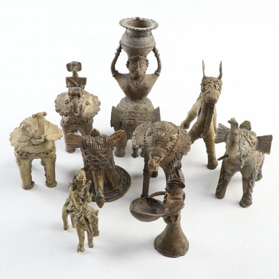 Indian Brass Dhokra Figurines featuring Elephants and More