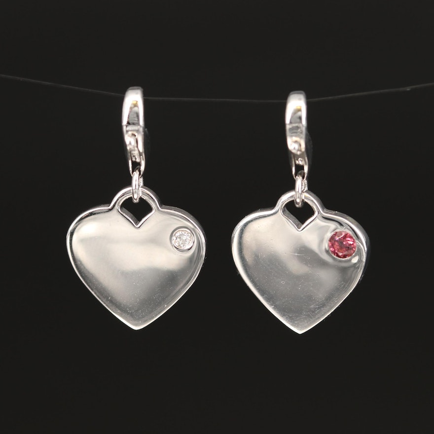 Sterling Diamond and Pink Tourmaline Heart Charms