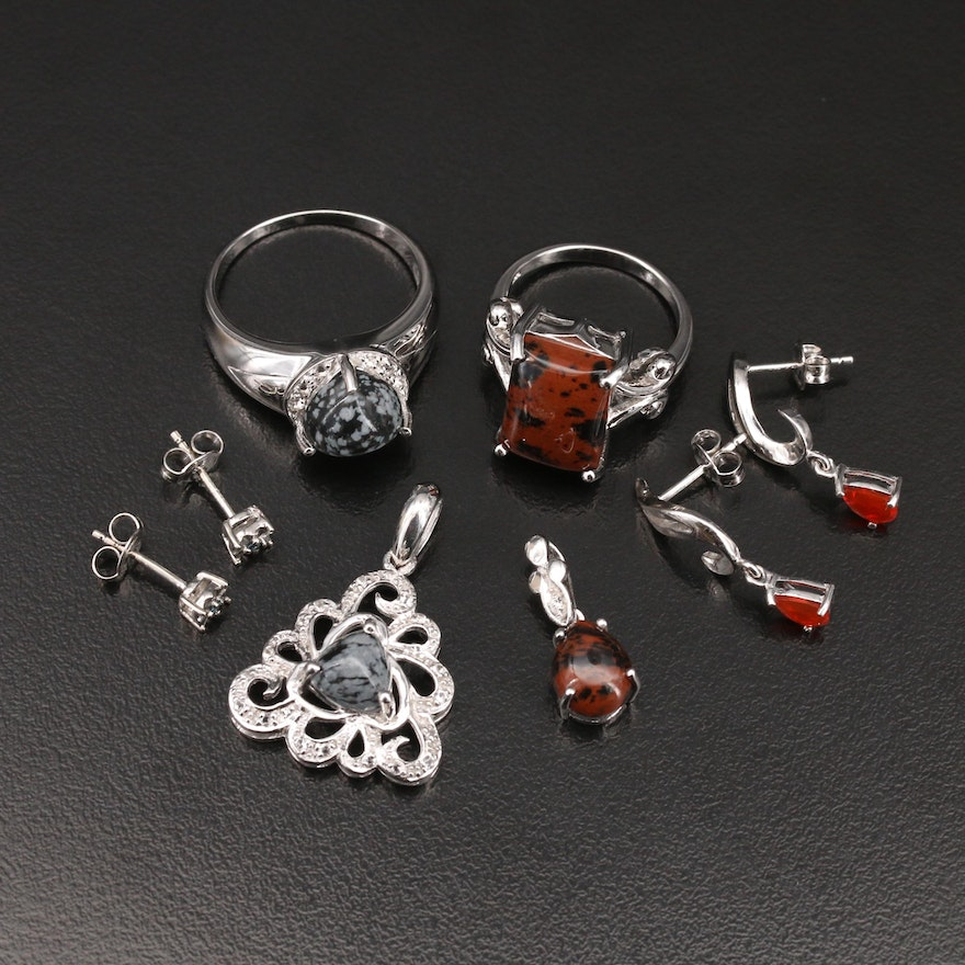 Sterling Jewelry Including Diamond and Additional Gemstones