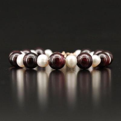 14K Garnet and Pearl Bracelet