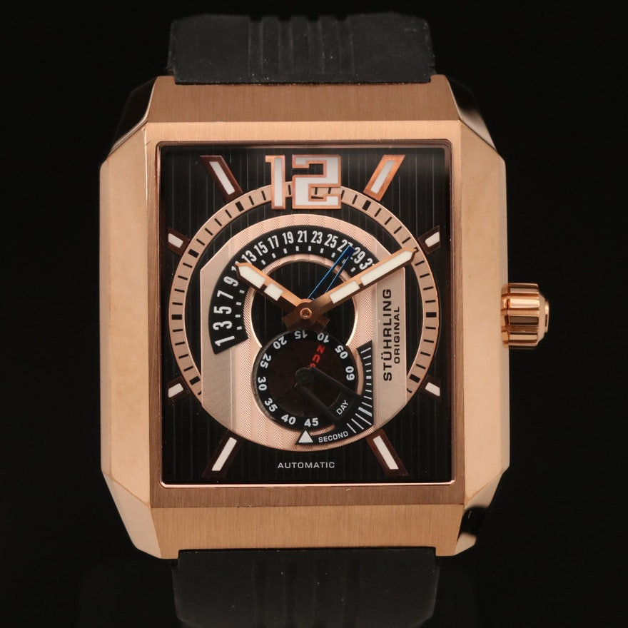 Stührling Day-Date Rose Gold-Tone Stainless Steel Automatic Wristwatch