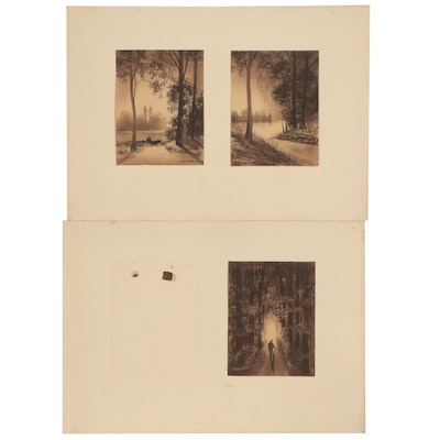 Hermann Richter Pastel Drawings of Figures in Woods, Early-Mid-20th Century