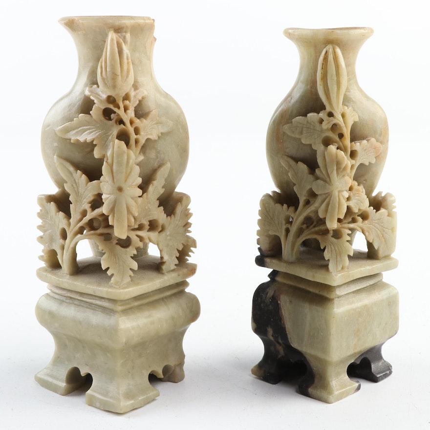 Chinese Soapstone Carved Miniature Corner Vases, Mid-20th Century