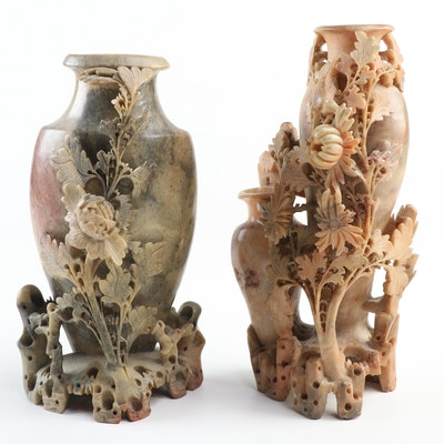 Chinese Soapstone Vases with Floral Carvings, Mid-20th Century