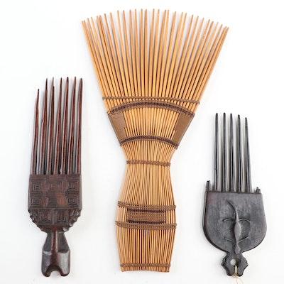 Burundi Bamboo Comb, Ashanti Comb with Lizard Motif and Bambara Comb