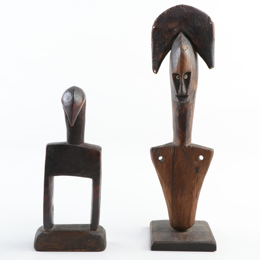 Bamana Inspired Hand-Carved Wood Figure and Senufo Heddle Pulley, West Africa