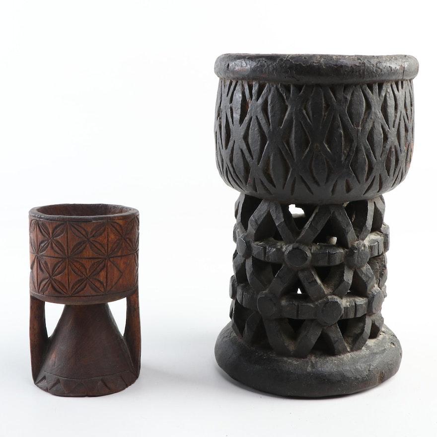 Cameroonian Hand-Carved Wooden Pedestal Bowls, West Africa