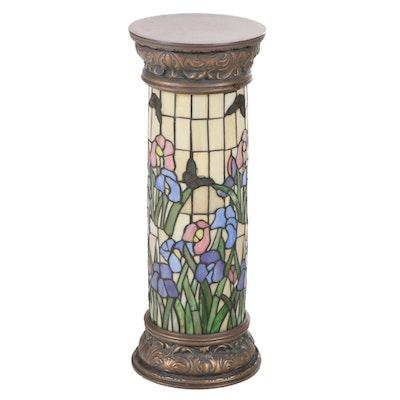 Floral Motif Slag Glass and Composite Column Floor Lamp
