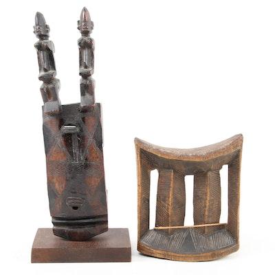 Ethiopian Headrest and Dogon Wooden Doorlock with Figural Motif