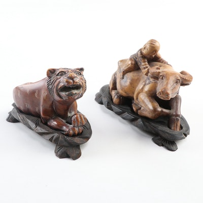 Chinese Soapstone Carvings of a Water Buffalo and Tiger, Mid-20th Century