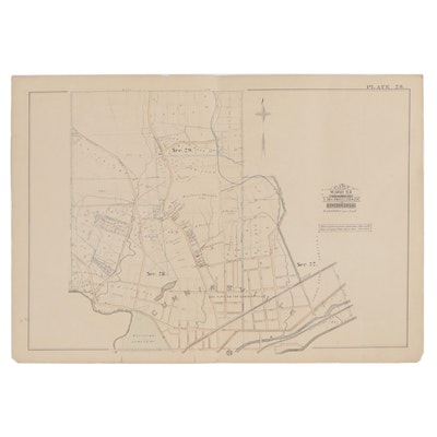 Hand-Colored Lithograph Map of Cumminsville, Ohio, 20th Century