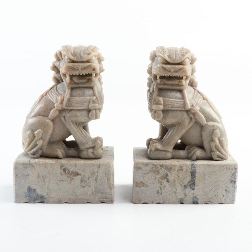 "Chinese Carved Soapstone ""Shíshī"" Guardian Lion Figurines"