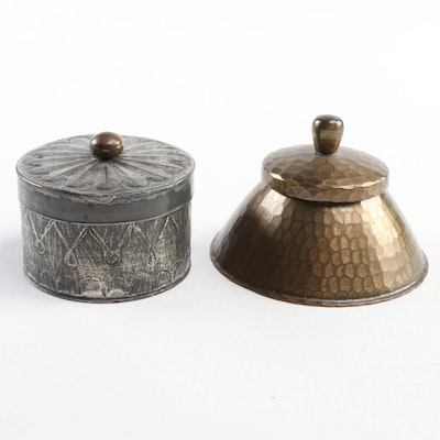 Roycroft Hammered Copper Lidded Box with Tin Box