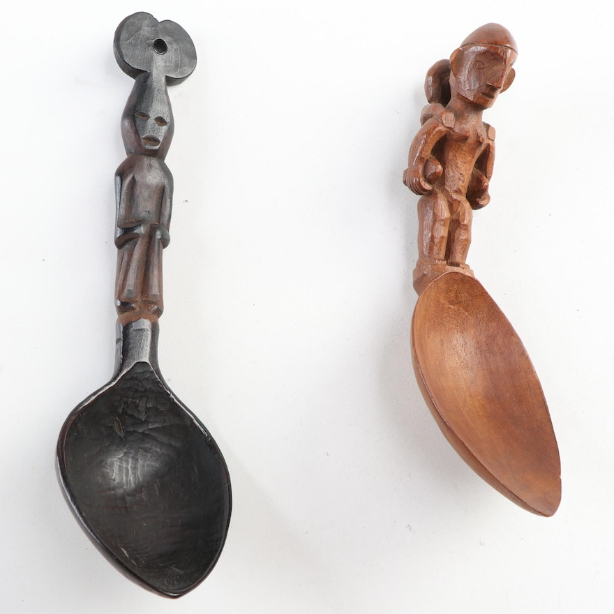 Dayak and Ifugao Carved Wood Spoons, Indonesia and Philippines
