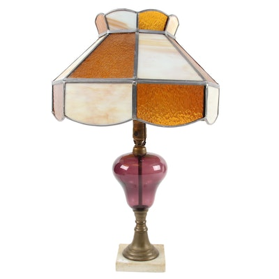 Pebbled Amber and Slag Glass Lampshade with Amethyst Glass Table Lamp Body