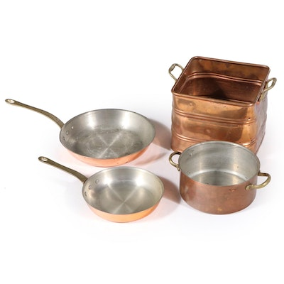 Copper Sauce Pans and Stock Pot with Square Copper Bucket