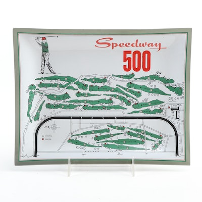 """""""Speedway 500"""" Painted Smoked Glass Golf Tray, 1960s"""