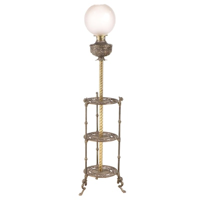 Aesthetic Movement Three-Tiered Brass Floor Lamp Table, Early/Mid 20th Century