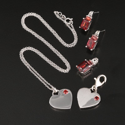 Sterling Silver Garnet Jewelry Featuring Heart Pendant and Charm