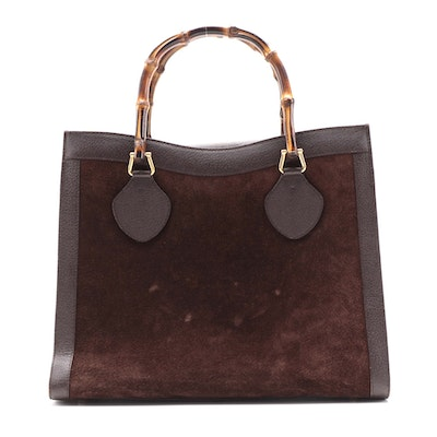 Gucci Diana Bamboo Handle Tote Bag in Brown Suede and Leather