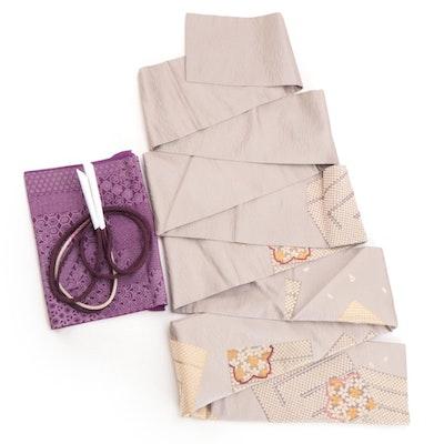 Floral Silk Nagoya Obi, Patterned Obi Age and Braided Obi-Jime with Tato-shi