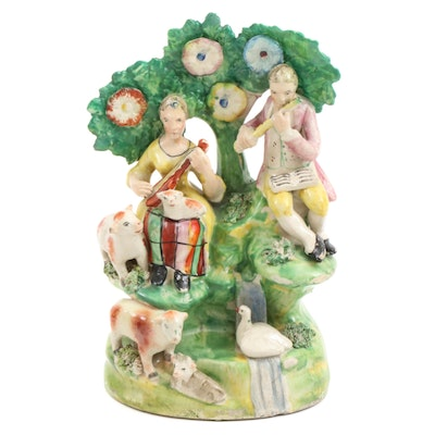 """Staffordshire Ceramic """"The Musicians"""" Figural Group, Early to Mid 19th Century"""