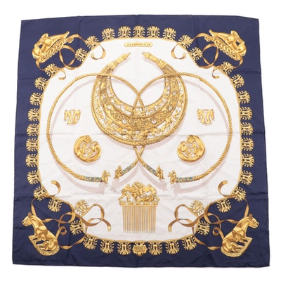 "Hermès ""Les Cavaliers d'Or"" Silk Twill Scarf"