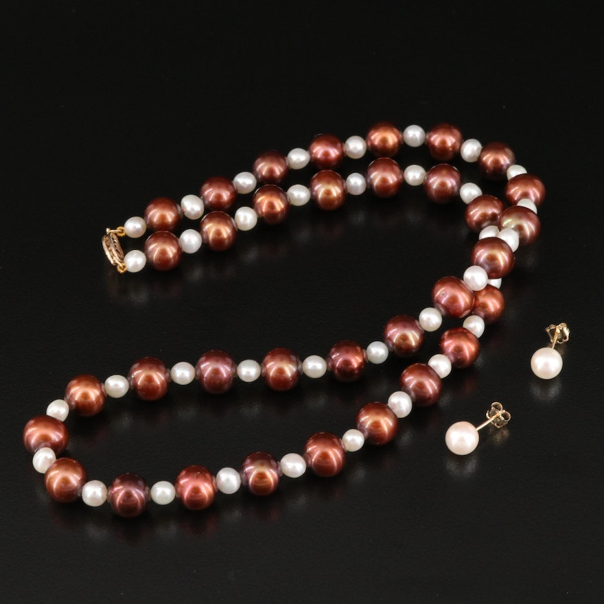 Pearl Strand Necklace and Stud Earrings