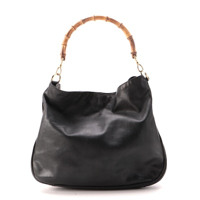 Gucci Bamboo Handle Hobo Bag in Black Leather