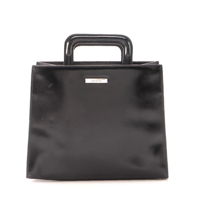 Gucci Black Patent Leather Retractable Top Handle Bag