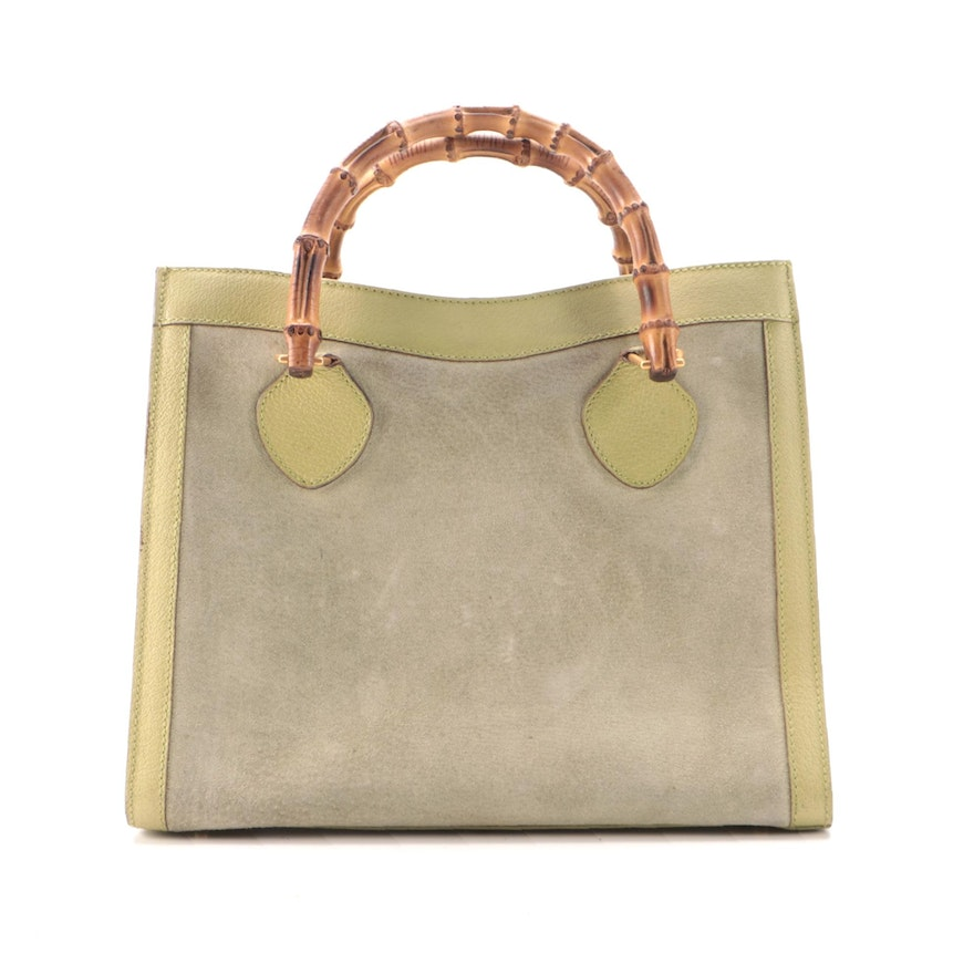Gucci Bamboo Handled Suede and Leather Tote in Light Avocado Green