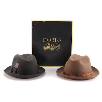 Men's Stetson and Dobbs Trilby and Homburg Felt Hats