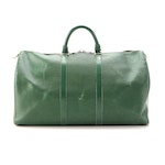 Louis Vuitton Keepall 50 Duffle Bag in Borneo Green Epi and Smooth Leather