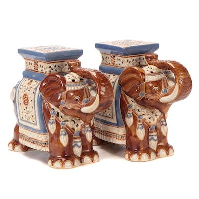 Chinese Style Glazed Ceramic Elephant Form Garden Stools