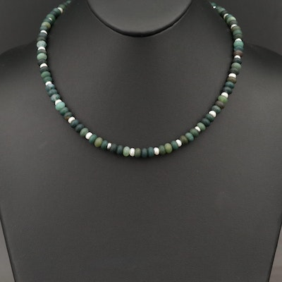 Pearl and Moss Agate Necklace with Sterling Spacer Beads