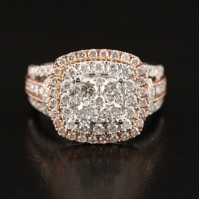 14K 2.03 CTW Diamond Cluster Ring with Rose Gold Accents
