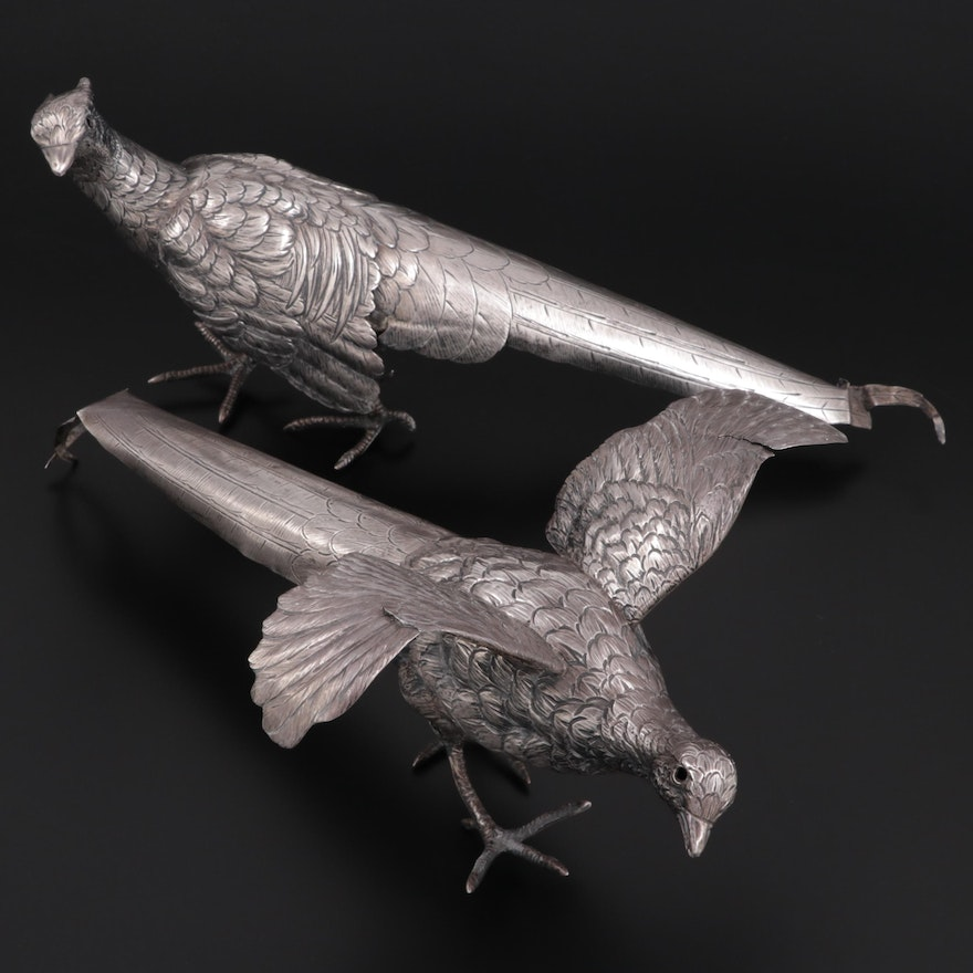 Tuttle Silversmiths Sterling Silver Table Pheasants