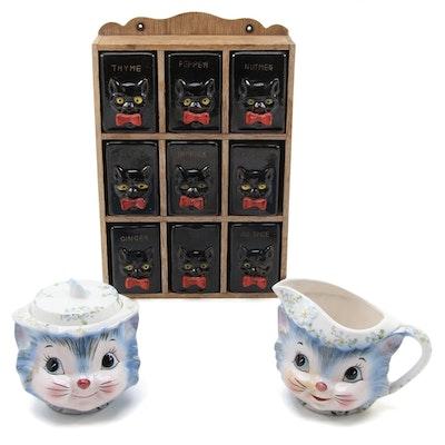Japanese Ceramic Figurial Cat Cream and Sugar with Black Cat Spice Rack