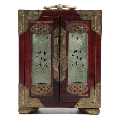 Chinese Brass Mounted Rosewood and Carved Serpentine Jewelry Chest
