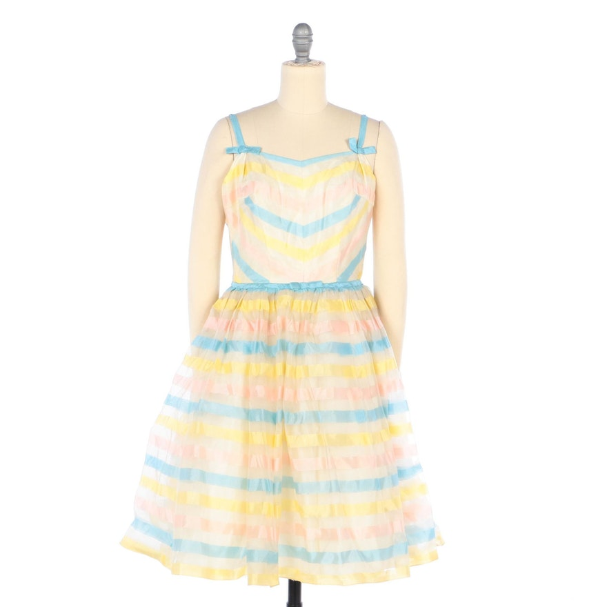 Pastel Striped Sleeveless Party Dress, Mid-20th Century