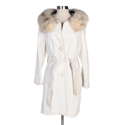 White Leather Belted Car Coat with Blue Fox Fur Collar